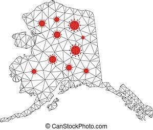 alaska, maille, carte, polygonal, coronavirus, vecteur, armature fil