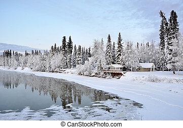 alaska, rivière, hiver