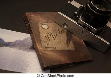 album, appareil-photo photo, vieux, retro