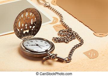 album, chaîne, horloge, vendange, retro, page