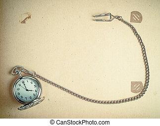 album, chain., horloge, photo, retro, vendange, page, modifié tonalité