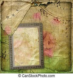 album, chiffonné, vieux, carte postale, vendange, page