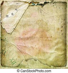 album, chiffonné, vieux, vendange, cartes postales, page