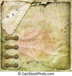 album, chiffonné, vieux, vendange, page, ruban