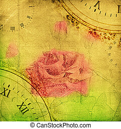 album, chiffonné, vieux, vendange, rose, page