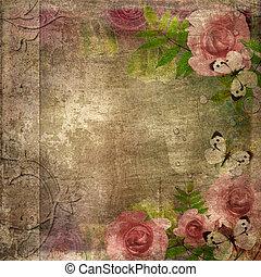 album, (, couverture, espace, roses, set), 1, texte, vendange