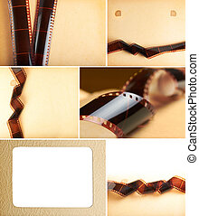 album, jaunâtre, collage, photo, filmstrip, fond