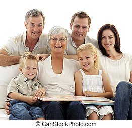 album, observer, sourire, photographie, famille