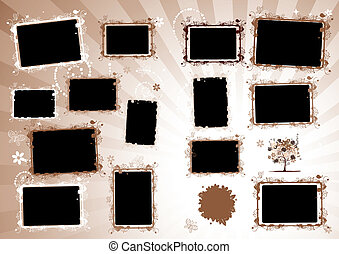 album, page., insertion, photo, conception, cadres, ton