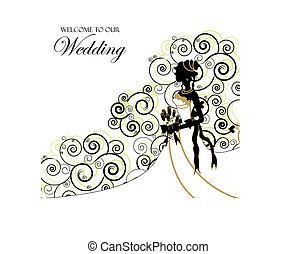 album, usage, photo, mariage, couverture, invitation, ou, graphic;
