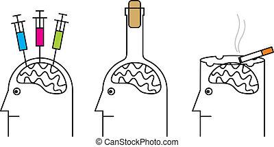 alcoholism., drogue, nuisible, habitudes, health., fumer, dépendance