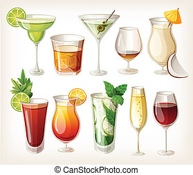 alcool, collection, coctails