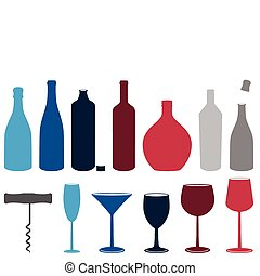 alcool, ensemble, bouteilles, glasses., &