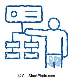 algorithm, icône, griffonnage, dessiné, illustration, graduel, main