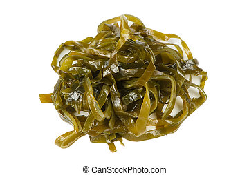 algue, (kelp), laminaria, fond, isolé, blanc