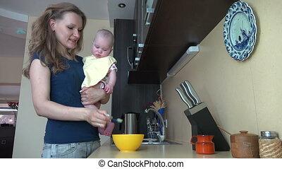 alimentation, bébé, femme, cuisine