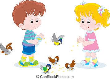 alimentation, petits enfants, oiseaux