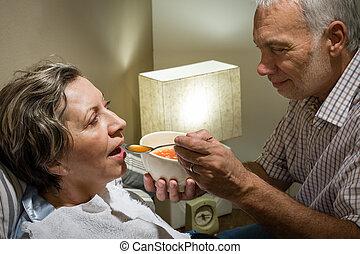 alimentation, retiré, épouse, malade, sien, mari, aimer