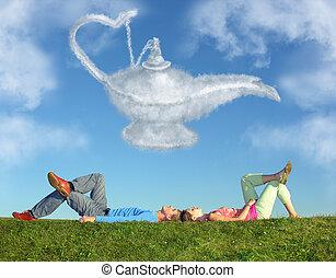 alladin, collage, couple, lampe, mensonge, herbe, rêve, nuage