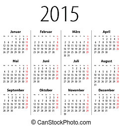 allemand, solide, calendrier, 2015