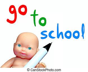 aller, école, message