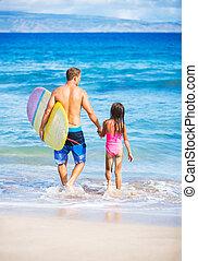 aller, duagher, surfer, père, plage