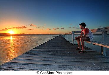 aller, location, tensions, coucher soleil, jours, regarder