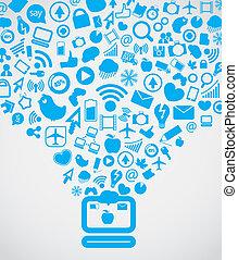 aller, média, moderne, bas, informatique, social, contenu