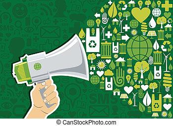 aller, média, social, vert, commercialisation