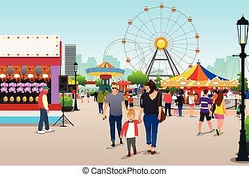 aller, parc, amusement, illustration, gens