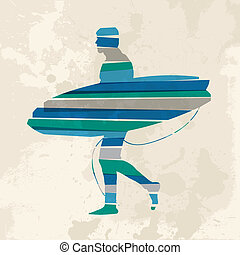 aller, vendange, multicolore, surfer
