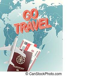 aller, voyage, vecteur, concept., illustration