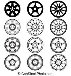 alliage, automobile, roue, roues