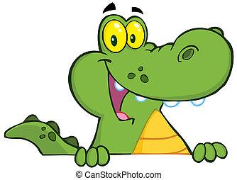 alligator, crocodile, sur, ou, signe
