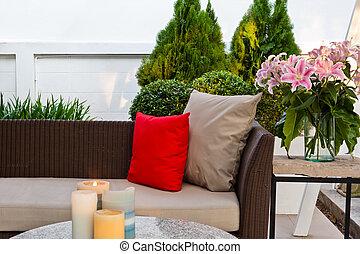 allocation places, extérieur, patio, secteur