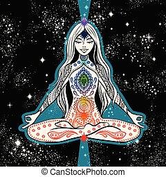 allocation places, yoga, girl, tshirt, vecteur, conception, méditation, natte, chakras.