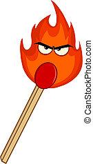 allumette, flamme, mal, brûlé, crosse