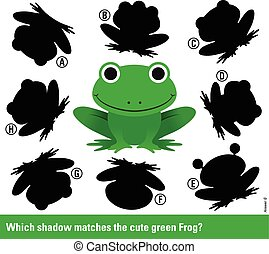 allumettes, ombre, vert, dessin animé, grenouille