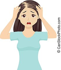 alopécie, adolescente, perte cheveux, panique, illustration