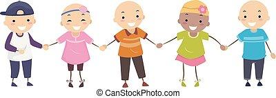 alopécie, stickman, girl, gosses, garçon, illustration
