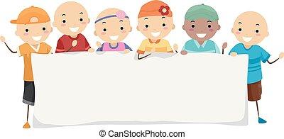 alopécie, stickman, gosses, bannière, illustration