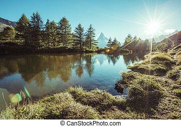 alpes, célèbre, scénique, environs, endroit, emplacement, grindjisee., suisse, pic, matterhorn.