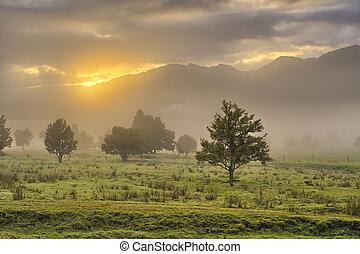 alpes, lumière, tôt, méridional, matin