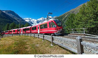 alpes, montagne, exprès, bernina, train, traversé, suisse
