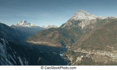 alpes, montagne, monte, coup, nord-est, antelao, italie, aérien, plus haut
