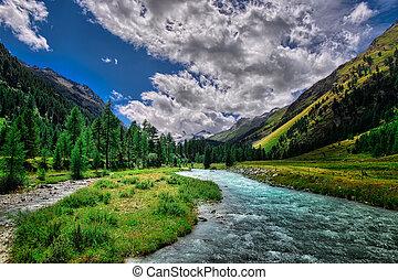 alpes, montagne, rivière, suisse