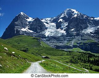 alpes, montagnes, suisse, monch, eiger