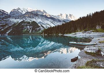 alpes, panorama, kandersteg., lac, azur, suisse, oeschinensee.
