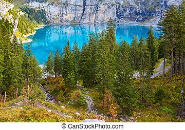 alpes, panorama, oeschinensee, switzerland., lac