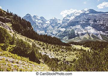 alpes, scénique, kandersteg., lac, environs, emplacement, suisse, oeschinensee.
